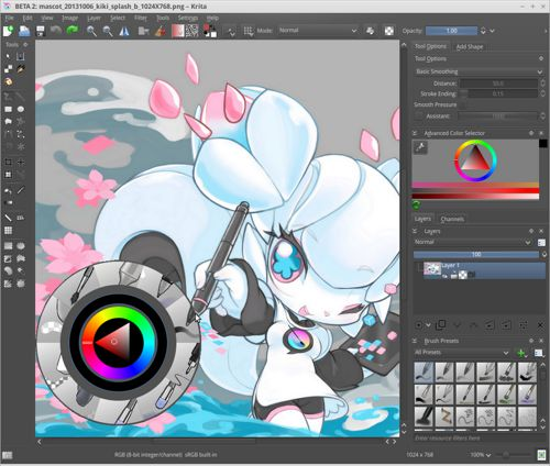 Line Art Software : Krita really cool software for digital drawing or